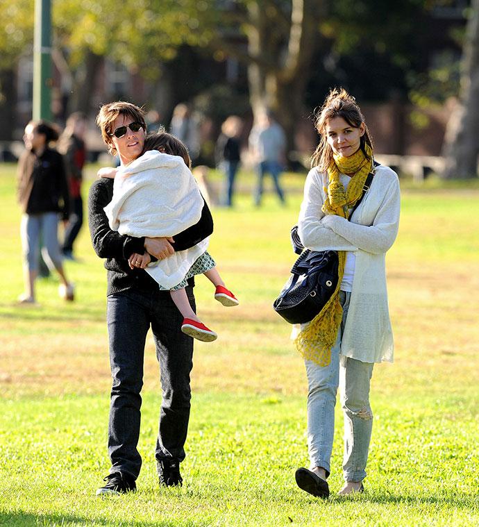 Том Круз с экс-супругой Кэти Холмс и дочерью Сури