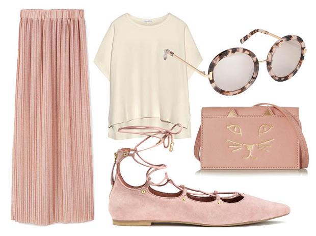 Выбор ELLE: юбка—макси Mango, топ James Perse, солнцезащитные очки Aldo, сумка через плечо Charlotte Olympia