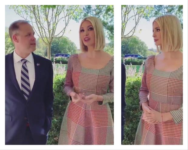 Розовое или голубое? Иванка Трамп в платье-обманке с оптическим принтом (фото 1)