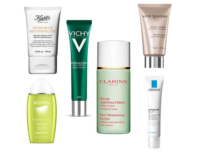 1. Лосьон Biotherm Purfect Skin; 2. Совершенствующее средство Kiehl's Micro-Blur Skin Perfector; 3. Ночной детокс Vichy Normaderm; 4. Сыворотка Clarins Pore Minimizing Serum; 5. Минеральная маска Anne Semonin; 6. Корректирующий крем-гель La Roche-Posay Effaclar Duo+