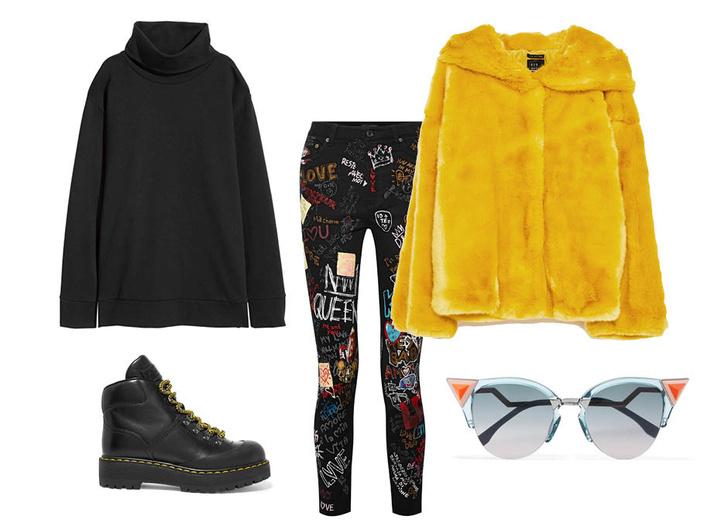 Выбор ELLE: джинсы Dolce & Gabbana, худи-водолазка H&M Studio, бутсы Prada, солнцезащитные очки Fendi