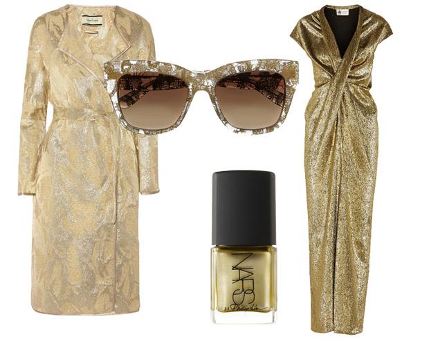 По часовой стрелке: пальто By Malene Birger, очки Dolce&Gabbana, платье Lanvin, лак для ногтей 3.1 Philip Lim for NARS