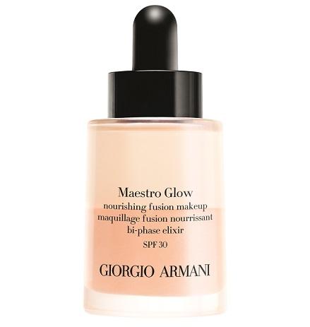 Двухфазный тональный эликсир Maestro Glow SPF 30 от Giorgio Armani