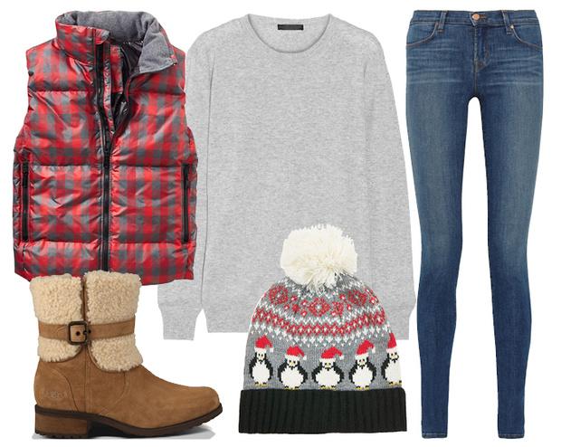 Выбор ELLE: пуховый жилет GAP, джинсы J Brand, зимние ботинки UGG Australia, шапка TopShop