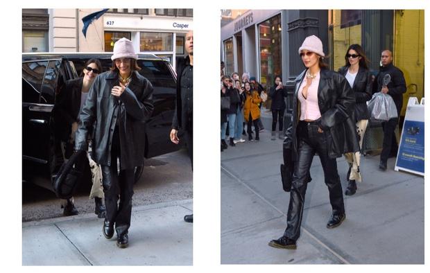 Главная вещь наступающей весны - кожаный пиджак: показывают Кендалл Дженнер и Белла Хадид (фото 0)