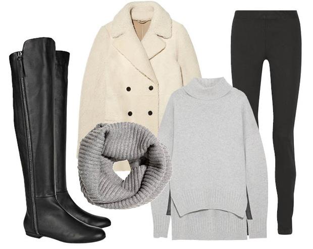 Выбор ELLE: пальто Joseph, джеггинсы The Row, свитер Jil Sander, шарф-снуд H&M