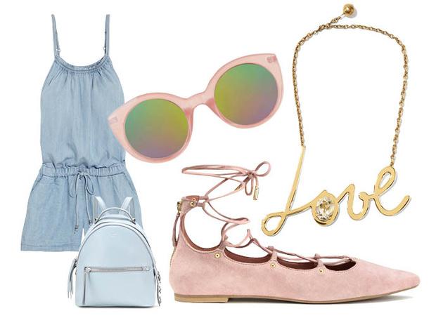 Выбор ELLE: комбинезон Splendid, солнцезащитные очки TopShop, рюкзак Fendi, колье Lanvin