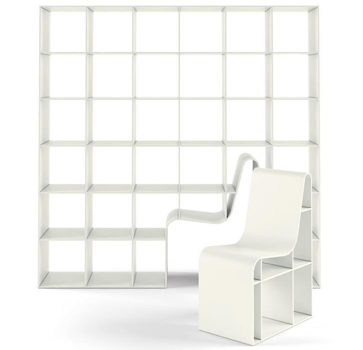 Гибрид книжного стеллажа и кресла от Alias