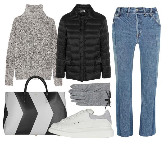 Пуховик Jil Sander, джинсы Vetements, джемпер Theory, кроссовки Alexander McQueen,сумка Anya Hindmarch, перчатки H&M
