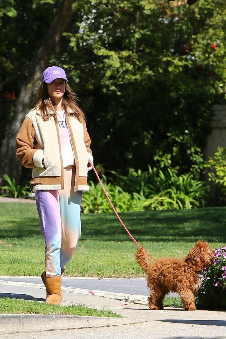 В лиловых оттенках: Алессандра Амросио показала самый уютный и стильный наряд для расслабленной прогулки (фото 2)
