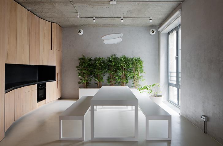 Кухня-столовая. Стол, лавки из МДФ и металлические кашпо для декоративного бамбука, Treez, сделаны на заказ. Подвесной светильник, Linea Light. Технический свет, Milan Iluminaсion.