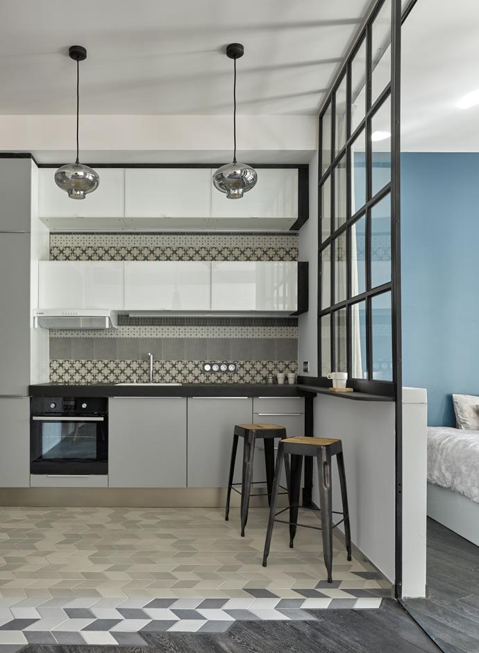 дизайн маленькой квартиры интерьер в модном сером цвете Elle