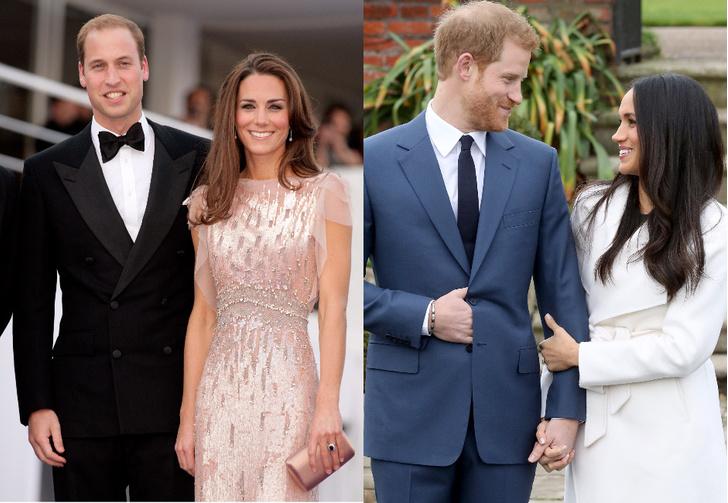 Принц Уильям и Кейт Миддлтон, принц Гарри и Меган Маркл