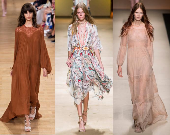 Стиль бохо платья длинные