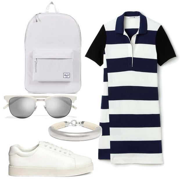 Выбор ELLE: платье Lacoste, рюкзак HershelSupplyCo, браслет IsabelMarant, солнцезащитные очки SaintLaurent