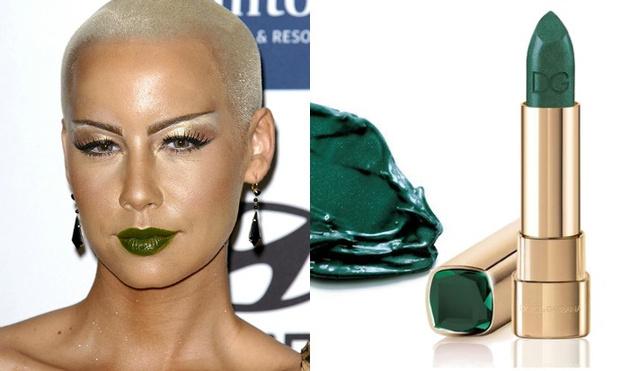 Эмбер Роуз; помада Dolce & Gabbana Emerald