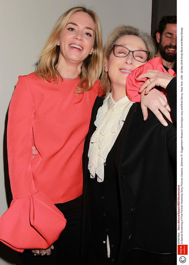 Эмили Блант и Мерил Стрип на премьере фильма «Последний портрет» (фото 1)