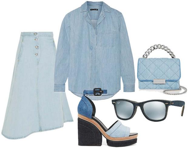 Выбор ELLE: рубашка Rag&Bone, босоножки Pierre Hardy, солнцезащитные очки Ray-Ban, сумка Stella McCartney