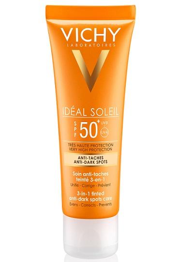 Тонирующий уход против пигментных пятен Ideal Soleil Bronze «3-в-1» SPF 50+ от Vichy