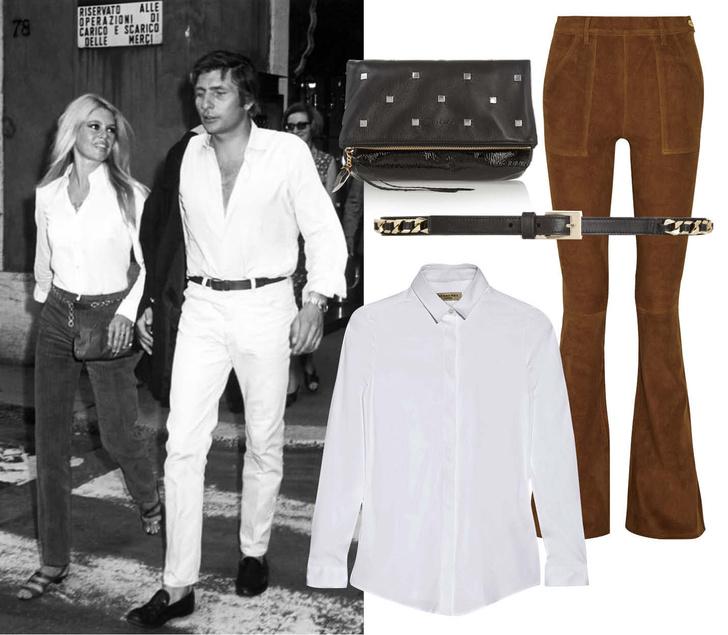 Выбор ELLE: брюки Frame Denim, рубашка Burberry London, клатч Jimmy Choo, пояс Givenchy