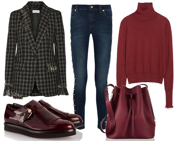 Выбор ELLE: джинсы McQ by Alexander McQueen, водолазка Zara, броги Tod's, сумка-корзина Sophie Hulme
