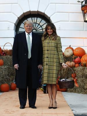 Хэллоуин в Белом доме: Мелания Трамп в желтом платье-пальто Bottega Veneta (фото 4)