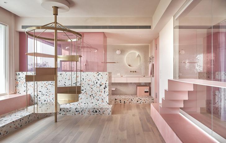 Розовый дом с комнатой для кошек на Тайване (фото 8)