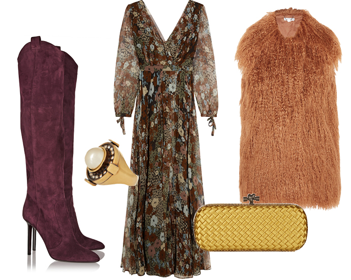 Выбор ELLE: платье Paul&Joe, жилет Stella McCartney, перстень Alexander McQueen, клатч Bottega Veneta