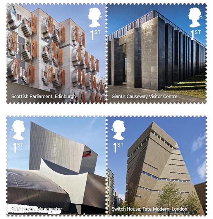 Почтовые марки с шедеврами современной архитектуры Великобритании