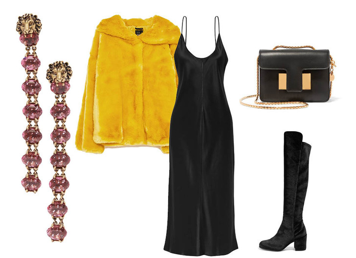 Выбор ELLE: платье T by Alexander Wang, сапоги Stuart Weitzman, серьги Gucci, клатч Tom Ford