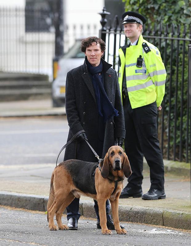 Бенедикт Камбербэтч на съемках 4-го сезона «Шерлока»