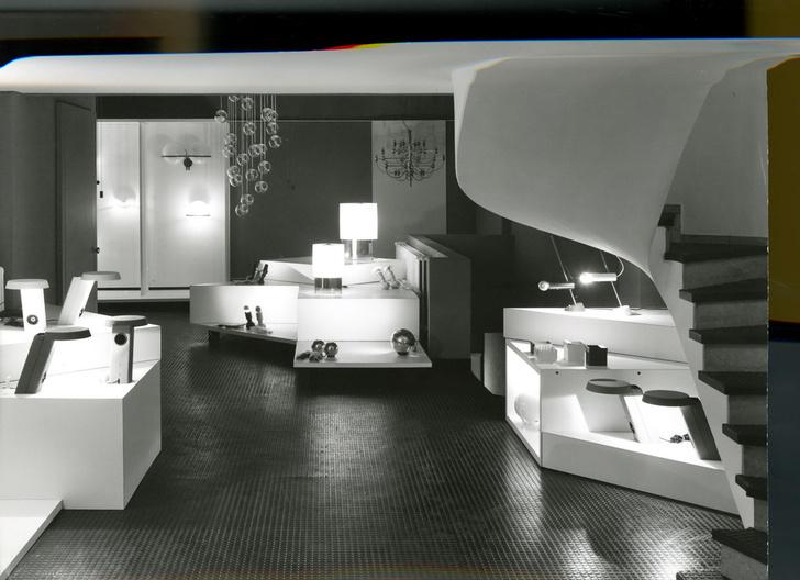 Шоу-рум Arteluce на виа делла Спига в Милане, архитектор Витториано Вигано, 1972 год