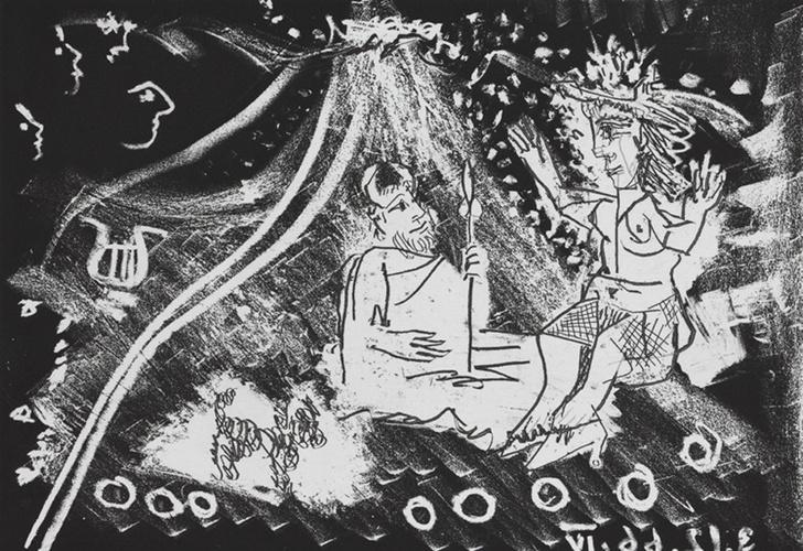 Офорт. Иллюстрация из издания Фернан Кроммелинк «Великолепный рогоносец», 1968, Пабло Пикассо