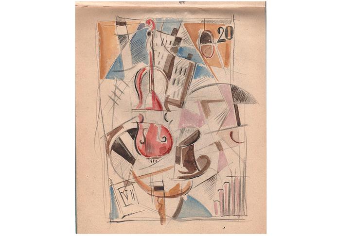 «Вертикальная композиция №8а», И. Пуни, 1914-1916-е гг.