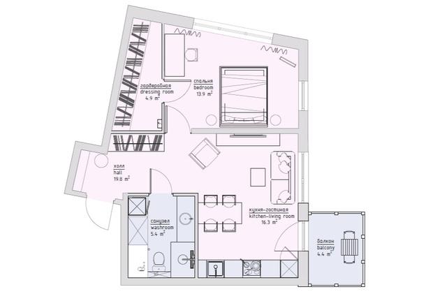 Квартира 49м²: интерьер для сдачи в аренду (фото 19)