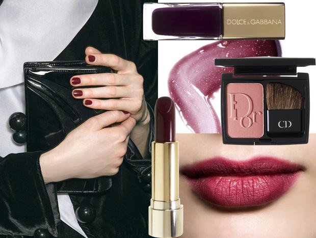 лак для ногтей The Nail Lacquer, 169, Dolce & Gabbana; помада L'Absolu Rouge, 386, Lancôme; блеск для губ Gloss d'Enfer, 863, Guerlain; румяна Diorblush, 756, Dior