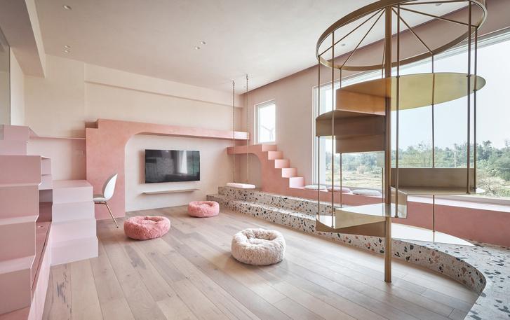 Розовый дом с комнатой для кошек на Тайване (фото 7)