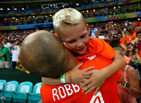 Арьен Роббен с сыном Лукой