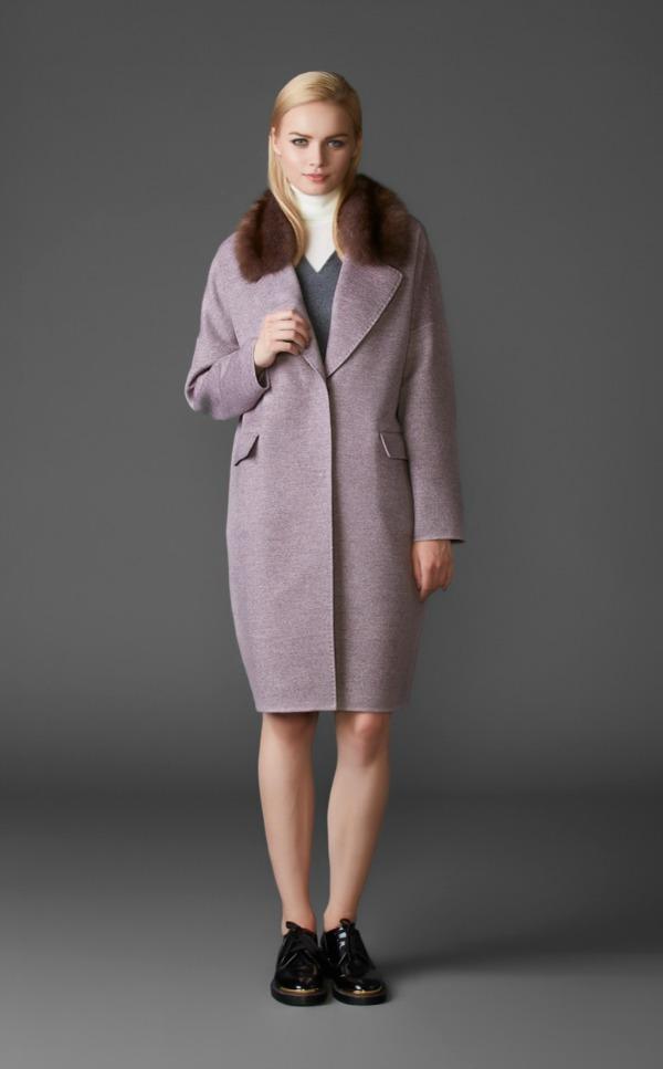 пальто из кашемира с воротником из баргузинского соболя