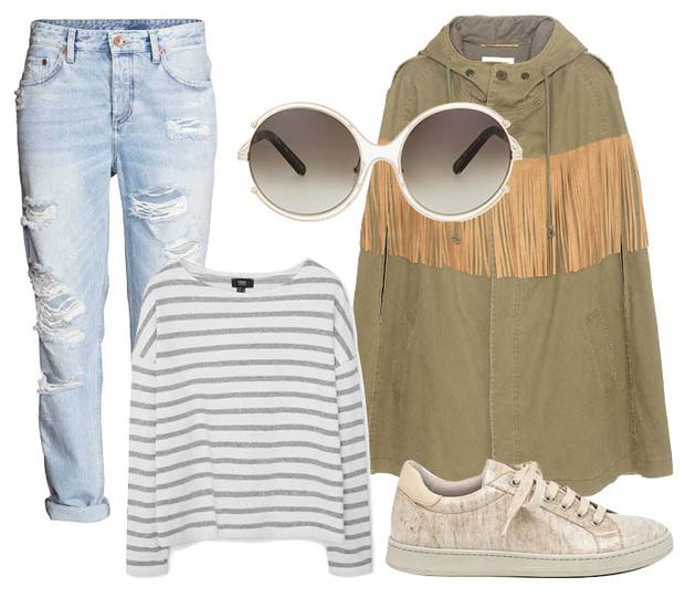 Выбор ELLE: джинсы H&M, свитшот Mango, солнцезащитные очки Chloé, кеды Brunello Cucinelli