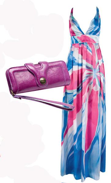 Платье Guess, 21 000 руб; сумка-кошелек Gerard Darel, 7 500 руб.