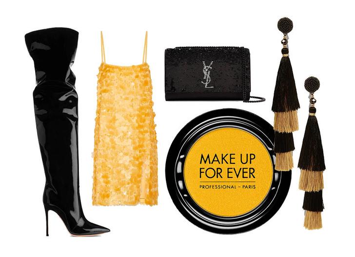 Выбор ELLE: ботфорты Gianvito Rossi, серьги Zara, клатч Saint Laurent, тени Makeup Forever