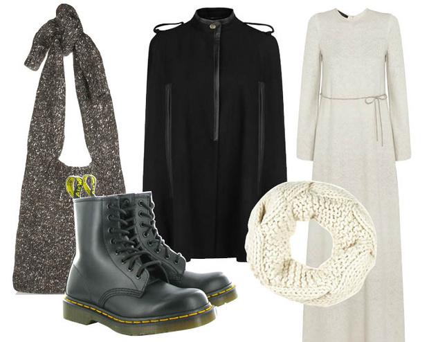 Выбор ELLE: вязаное платье Calvin Klein, снуд River Island, сумка Stella McCartney, пончо Mango