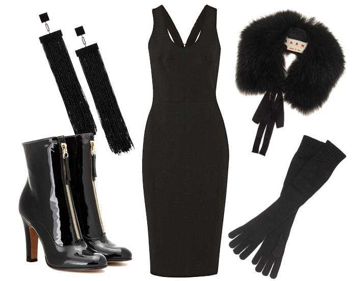Выбор ELLE: серьги-шандельеры Tom Ford, сапоги Saint Laurent, горжетка Marni, перчатки Dolce&Gabbana