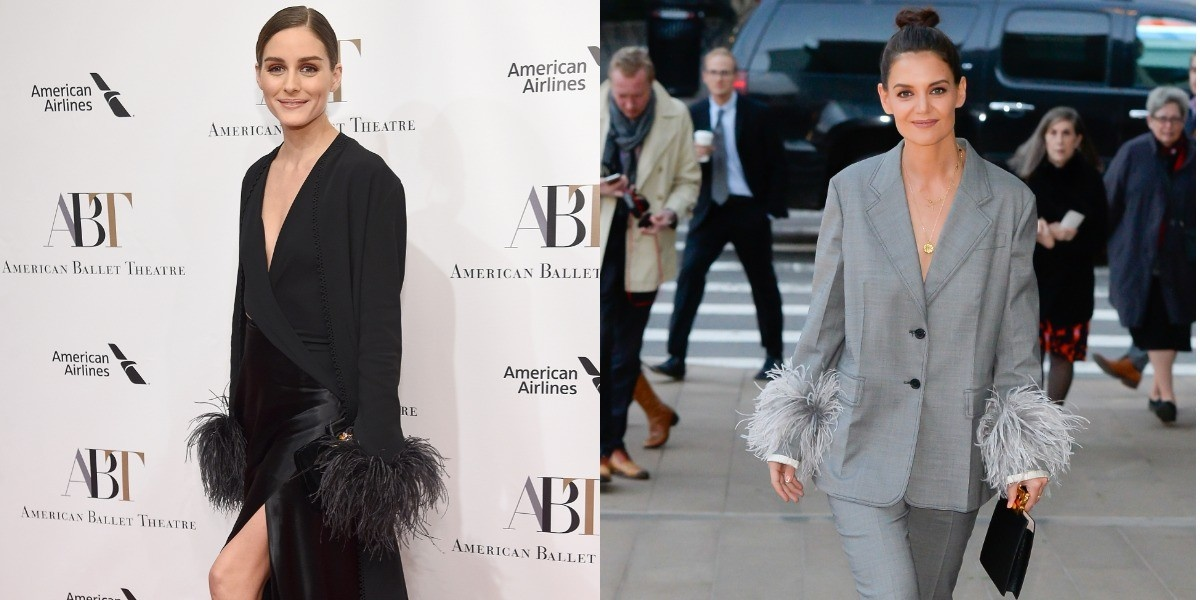 Перья и атлас  Кэти Холмс в костюме Prada и Оливия Палермо в платье Ralph  Lauren   Звездный стиль на www.elle.ru d3622883f3c