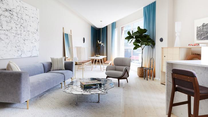 Апартаменты в Манхэттене в спокойной гамме (фото 0)