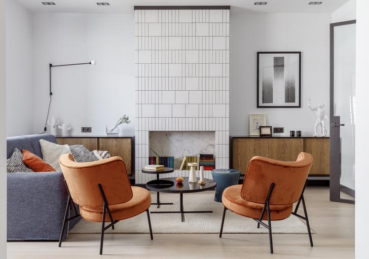 Современная  интерпретация стиля «мидсенчури» для двухкомнатной квартиры в Краснодаре (фото 0)