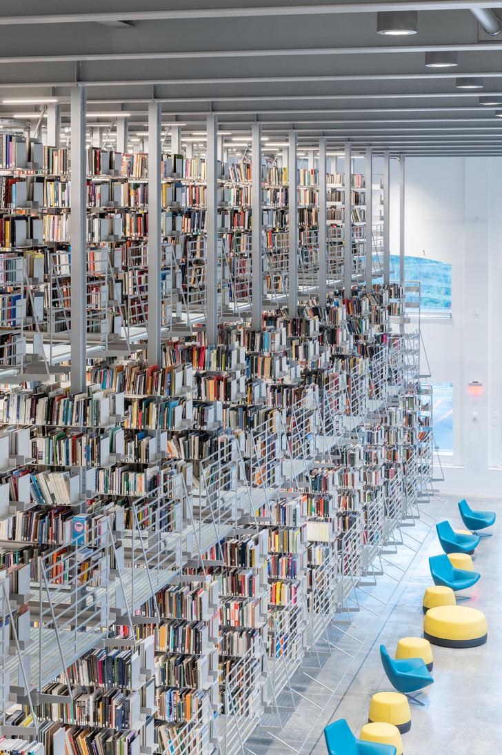 Библиотека с подвесными стеллажами Корнелльском университете (фото 7)