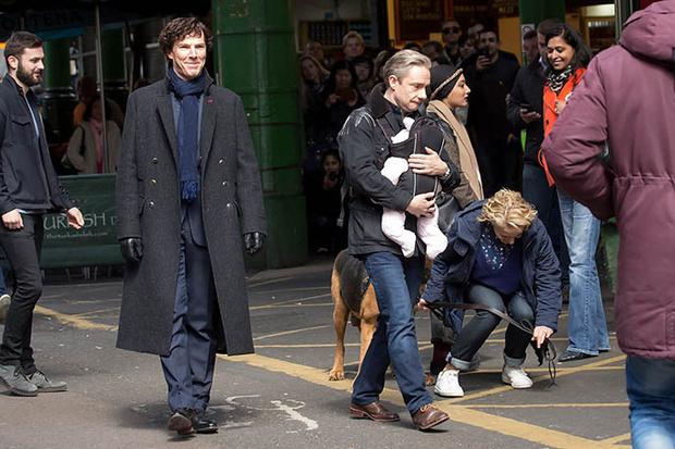 Бенедикт Камбербэтч на съемках нового «Шерлока»