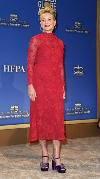 Леди в красном: 59-летняя Шэрон Стоун в платье Maison Valentino (фото 3)